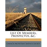 List Of Members, Prospectus, &c.