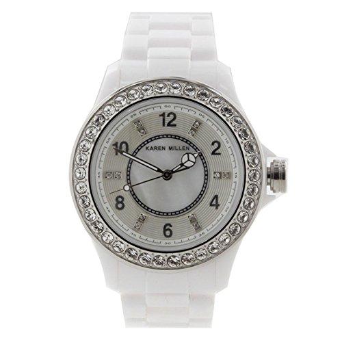 Karen Millen K122 Ladies All White Stones Watch