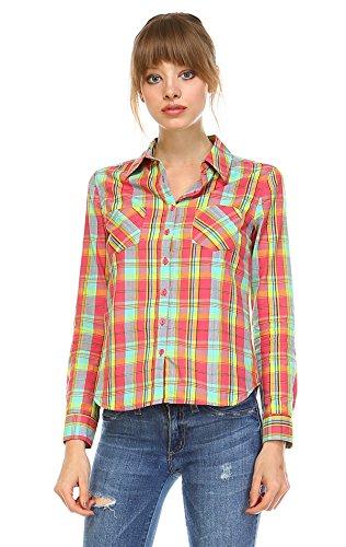 Zoozie LA Women's Plaid Shirt Button Up Mint Coral Large (Wet Seal Flannel compare prices)