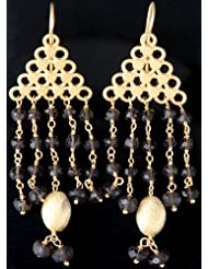 Exotic India Faceted Smoky Quartz Gold Plated Chandeliers - Sterling Silver