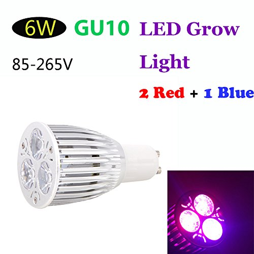 Kkmoon Gu10 6W Led Plant Grow Light 2 Red 1 Blue Energy Saving Hydroponic Lamp Bulb For Indoor Flower Plants Growth Vegetable Greenhouse 85-265V