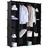 WOLTU-SR0010OT-Kleiderschrank-Garderobenschrank-DIY-Steckregal-ohne-Tren-Lagerregal-Bcherregal-XXL-147x37x182cm-Schwarz