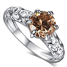 buy Leobon Party Wedding Engagement Rings For Women Morganite White Cz Diamond 18K White Gold Plated Ring