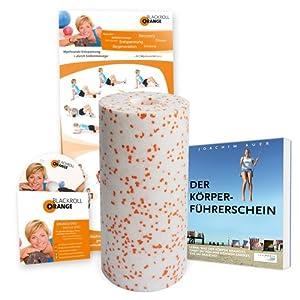 """Blackroll Orange (Das Original) - DIE Selbstmassagerolle - Bundle MED - inkl. Übungs-DVD und Übungs-Poster, Buch """"Der Körperführerschein"""""""