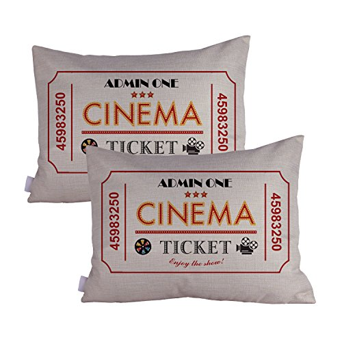Queenie® - 2 Pcs Movie & Music Theme Decorative Pillow Cases Throw Cushion Covers 35 cm x 50 cm 14 x 20 Inch (movie ticket red) (Movie Ticket Accent Pillow compare prices)