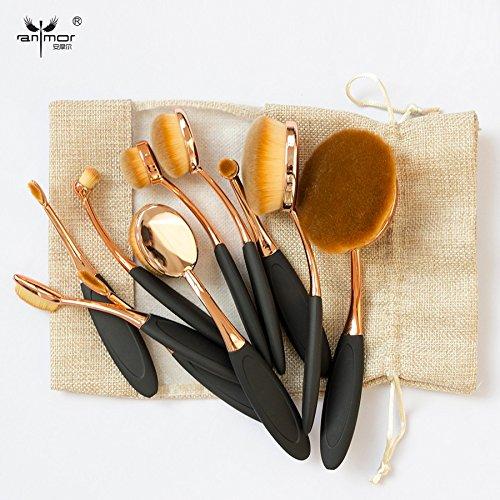Rose Gold 10 pcs Tooth Brush Shape Oval Makeup Brush Set MULTIPURPOSE Professional Foundation Powder Brush Kit with Bag (Bh Cosmetics 12 Piece Brush Set compare prices)