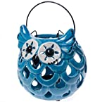 Blue Owl Ceramic Tea Light Lantern