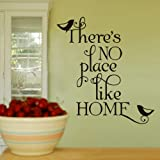 There's No Place Like Home Wall Art Vinyl Stickers - White - Large 110cm x 76cm