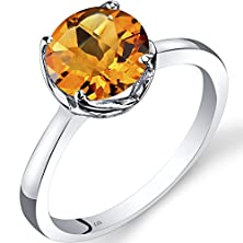 buy 14K White Gold Citrine Solitaire Ring 1.75 Carat Checkerboard Cut