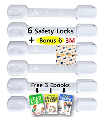 Adjustable Child Safety Locks by Luv4Baby - Latches to Baby Proof Cabinets, Drawers, Fridge, Dishwasher, Toilet Seat - No Tools or Drilling - Reusable With Extra 6 3M Adhesives Included - 6 Pack (Washer And Dryer Second Hand compare prices)