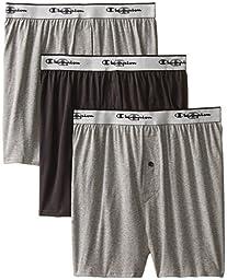 Champion Men\'s 3-Pack Knit Boxer, Gray/Black, X-Large