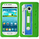 Green Blue Cassette Tape Silicon Soft Rubber Skin Case Cover For Samsung Galaxy i8190 S 3 S3 III Mini with Free Pouch