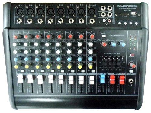 8 Channels 2000 Watts Professional Power Mixer Amplifier