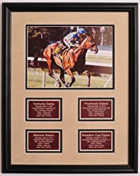 American Pharoah Pharaoh Horse Racing Grand Slam Photo w/ Saddle Leather Statistic Plaques for All 4 Races