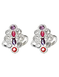 DollsofIndia White And Red Stone Studded Diamond Shaped Toe Ring - Stone And Metal - White