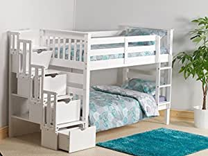 Cloudseller STAIRCASE BUNK BED WITH 3 DRAWER STORAGE IN WHITE