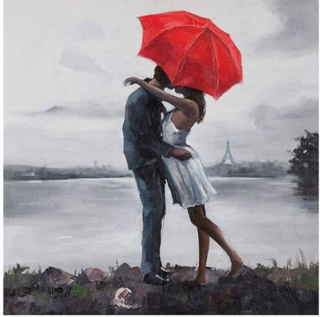Xm Art-Romantic Loves Under Red The Umbrella 100% Hand-Painted Passion Color High Q. Home Decoration Modern Abstract Best-Selling Oil Painting On Canvas (Unstretch No Frame) front-995653