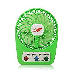 CFZC 2016 New Mini USB Rechargeable Emergency Summer Fan LED Fan 7 blades, 4 Speeds of Air Force Adjustable, Timing Function and Battery Status Visible, Assembled with Steel Stand(green)