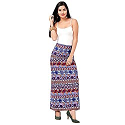 Eavan Women's Casual Wear Multi Color Printed Maxi Skirt Polyester Skirt