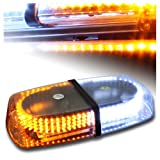White & Amber Emergency Hazard Warning LED Mini bar Strobe Light w/ Magnetic Base