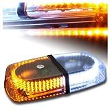 White & Amber Emergency Hazard Warning LED Mini bar Strobe Light w/ Magnetic Base