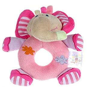 14*13cm Baby Girls Boy Infant Mini Hand Rattle Animal Soft Plush Doll Educational Toys Stuffed & Plush Animals (Elephant Pink)