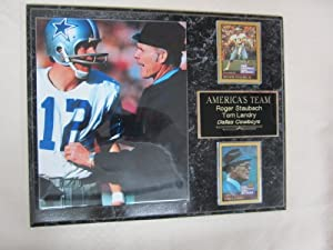 Tom Landry Roger Staubach Dallas Cowboys 2 Card Collector Plaque w 8x10 photo by J & C Baseball Clubhouse