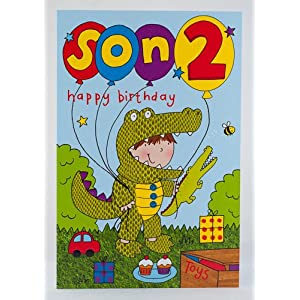 Happy 2nd Son Birthday Card: Amazon.co.uk: Kitchen & Ho