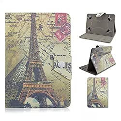 Tsmine Gigaset QV1030 10.1 Inch Tablet Eiffel Tower Case - Universal Protective Lightweight Premium Fashion Retro Stamp Paris Eiffel Tower Printed PU Leather Case Cover, Eiffel Tower