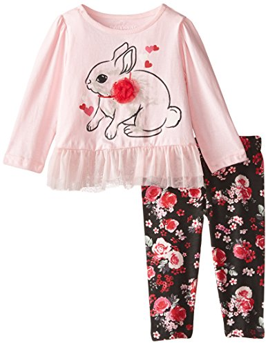 Kidtopia Baby Girls Long Sleeve 2 Piece Mesh Peplum Tunic Set with Tack On Rabbit, Rose Shadow, 18 Months