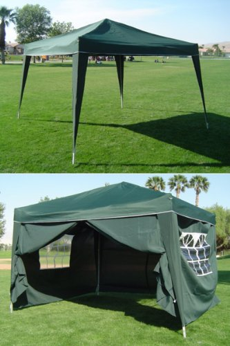 10 x 10 Pop-up GREEN Canopy w/4 Side Walls EZ to set up