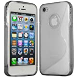 ONX3 APPLE IPHONE 5 Solid Clear S Line Wave Gel Case Skin Cover + LCD Screen Protector Guard
