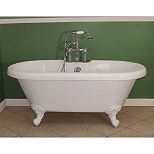 Randolph Morris Acrylic White Clawfoot Tub RMA60DE7WDIW White Feet Clawfoot