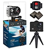 Auto Tech H9R Action Camera 4K Waterproof Wifi Sports Camera Full HD 4K 25FPS 2.7K 30fps 1080P 60fps Video Camera 12MP Photo and 170 Wide Angle Lens Includes 11 Mountings Kit 2 Batteries (Black)