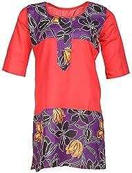 Anshul Textile Women's Cotton Regular Fit Kurta (Red)