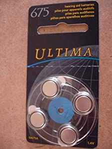 "Ultima U675A ""Hearing Aid Batteries 1.4v "" x 4"