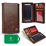 Bi Fold Wallet W/Internal Phone Pocket Unisex In Chocolate Brown For Samsung Galaxy S4 Mini (I9190)