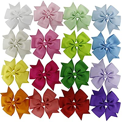 Solid Grosgrain Ribbon Pinwheel Boutique Hair Bows Alligator Clips for Baby Girls Kids Teens Toddlers Children