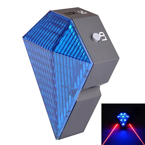 Bsp® Cycling Bike Bicycle Intelligent Laser Rear Light 8 Led Tail Wireless Brake Lamp - 2 Red Laser - 3 Modes Lamp Safety (Blue)