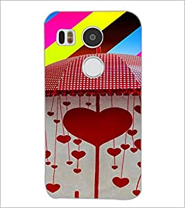 PrintDhaba Hearts D-4663 Back Case Cover for LG NEXUS 5X (Multi-Coloured)