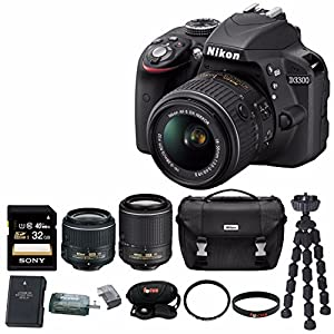 Nikon D3300 DSLR Kit Bundle with 18-55 & 55-200mm VR II Lenses, 32GB Memory Card, Case Kit and Accessories (10 Items)