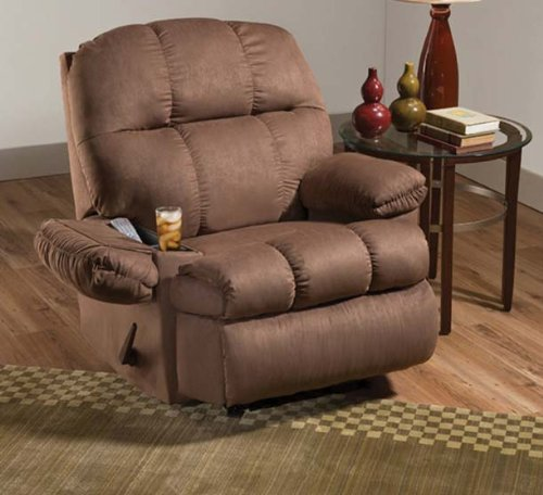 simmons truffle micro fiber fabric massage recliner with cup holder