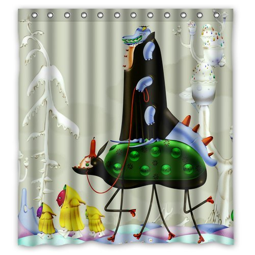 "Dinosaur Riding On The Creatures Waterproof Polyester Shower Curtain Size 66""X 72"" back-540738"