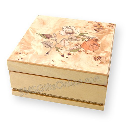 Musical wooden Jewellery Box - Champagne Rose