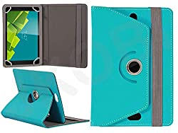 Jkobi 360* Rotating Front Back Tablet Book Flip Case Cover For Vizio 3D Wonder Tablet (Universal) -Cyan