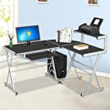 Tinkertonk Black Computer Desk with Sliding Keyboard Tray Top Shelf Computer Workstation, width 139cm