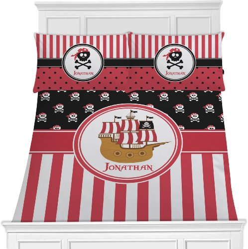 Pirate Bedding Set - Black W/Red Stripes - Twin front-816859