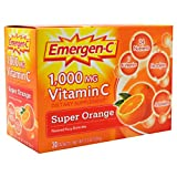 Alacer Emergen-C 1000 Mg Vitamin C Fizzy Drink Mix, Super Orange - 30 Packets, 6 Pack