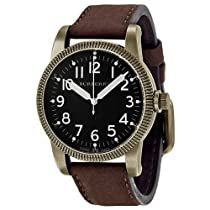 Burberry Military Black Dial Brown Leather Strap Mens Watch BU7807