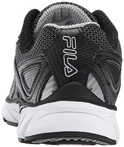 Fila Men's Quadrix Running Shoe, Black/Black/Metallic Silver, 11 M US